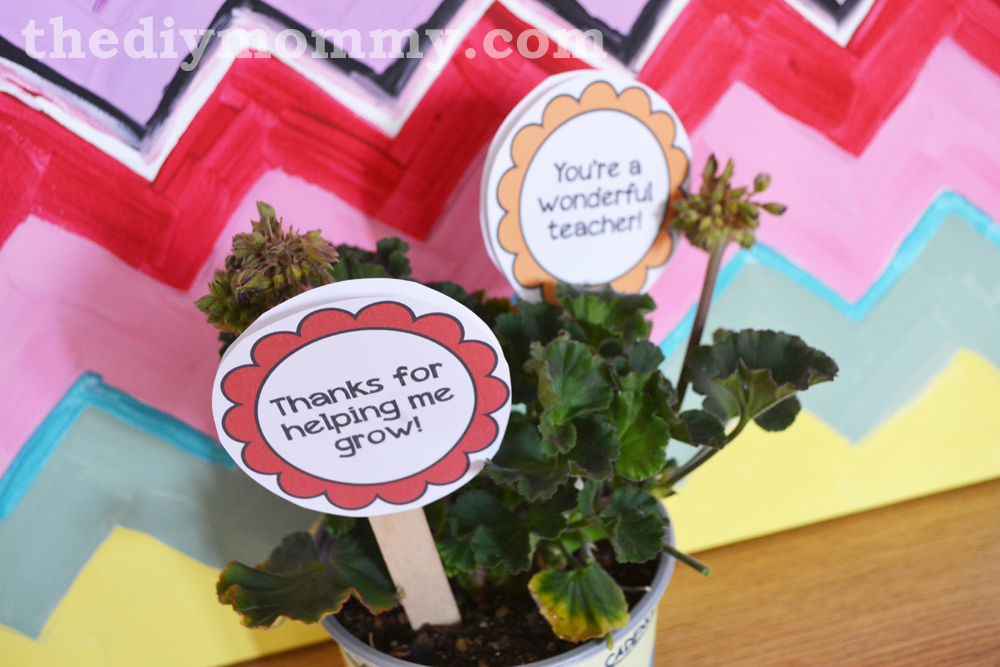 Flower Pot Wrapper  Tags Teacher Gift - Free Printable The DIY Mommy