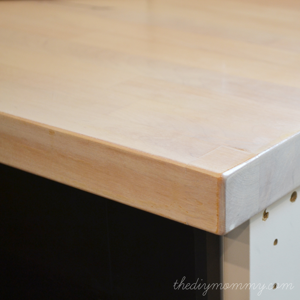 How To Waterproof Wood Countertop Whitewash And Seal A Butcher Block Counter Top The Diy Mommy