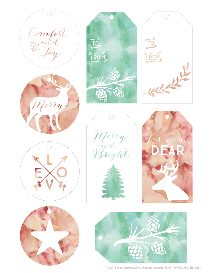 Pretty Christmas Gift Tag Printables from Me to You The DIY Mommy