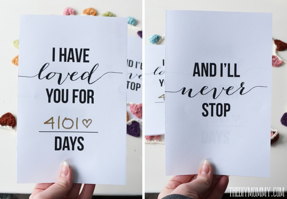 I Have Loved You For This Many Days - Free Valentine or Anniversary