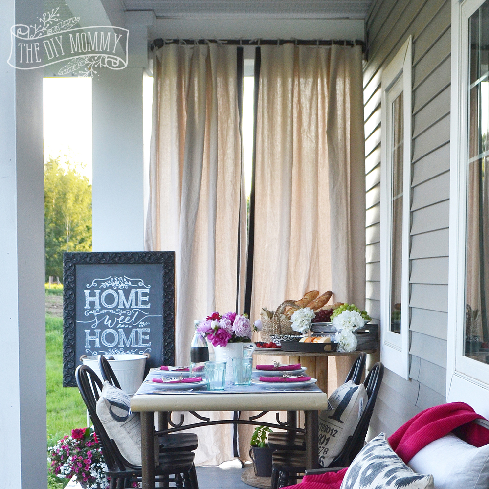 Make Outdoor Drop Cloth Drapes A Porch Warming Party Idea The Diy Mommy