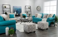 Teal Grey And White Living Room