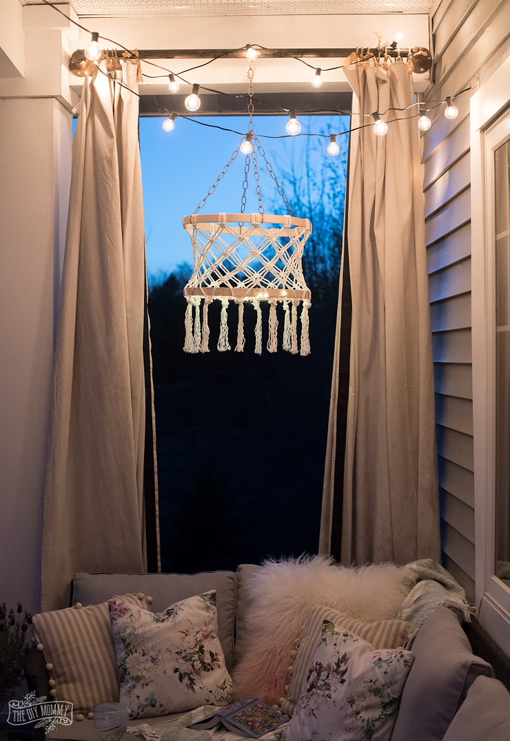 How To Make Curtain Lights Make A Diy Macrame Boho Chandelier With Fairy Lights The Diy Mommy
