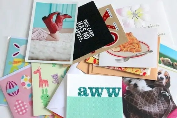 organized greeting cards