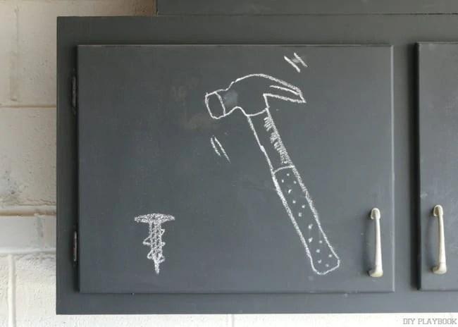 hammer chalkboard cabinets garage