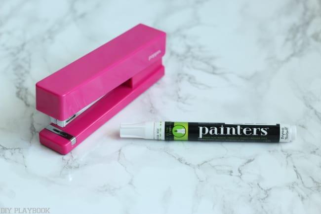 paint pen stapler pink office