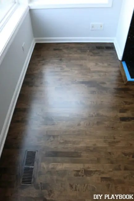 Our new stained hardwood floors diy playbook for Hardwood floors too shiny