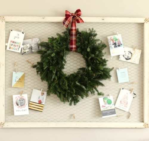 Christmas Card Display with wreath