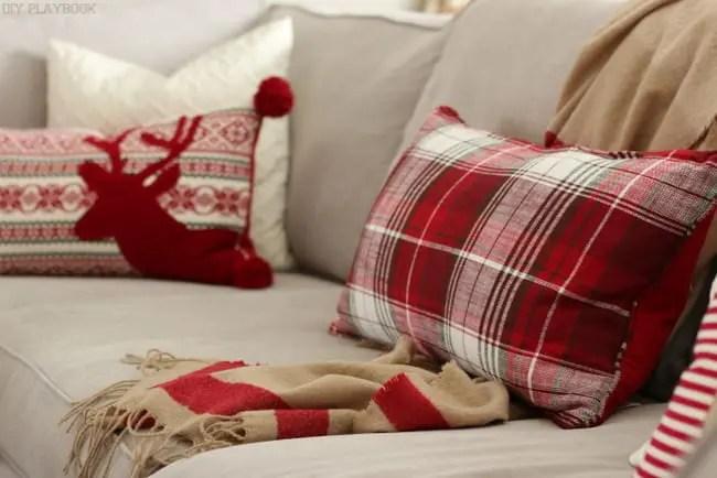 Christmas Plaid Pillows and blanket