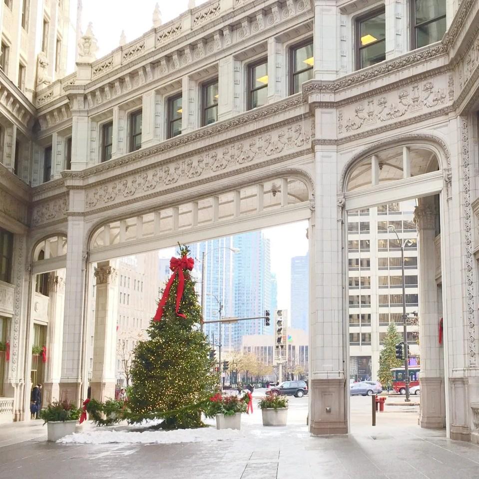 chicago christmas tree wrigley building