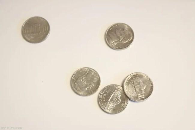 Nickels for shiplap spacers