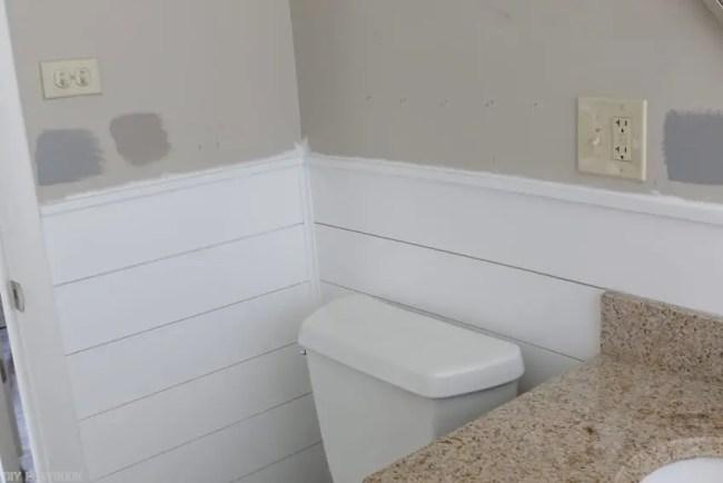 DIY white Shiplap Tutorial in Bathroom and paint samples