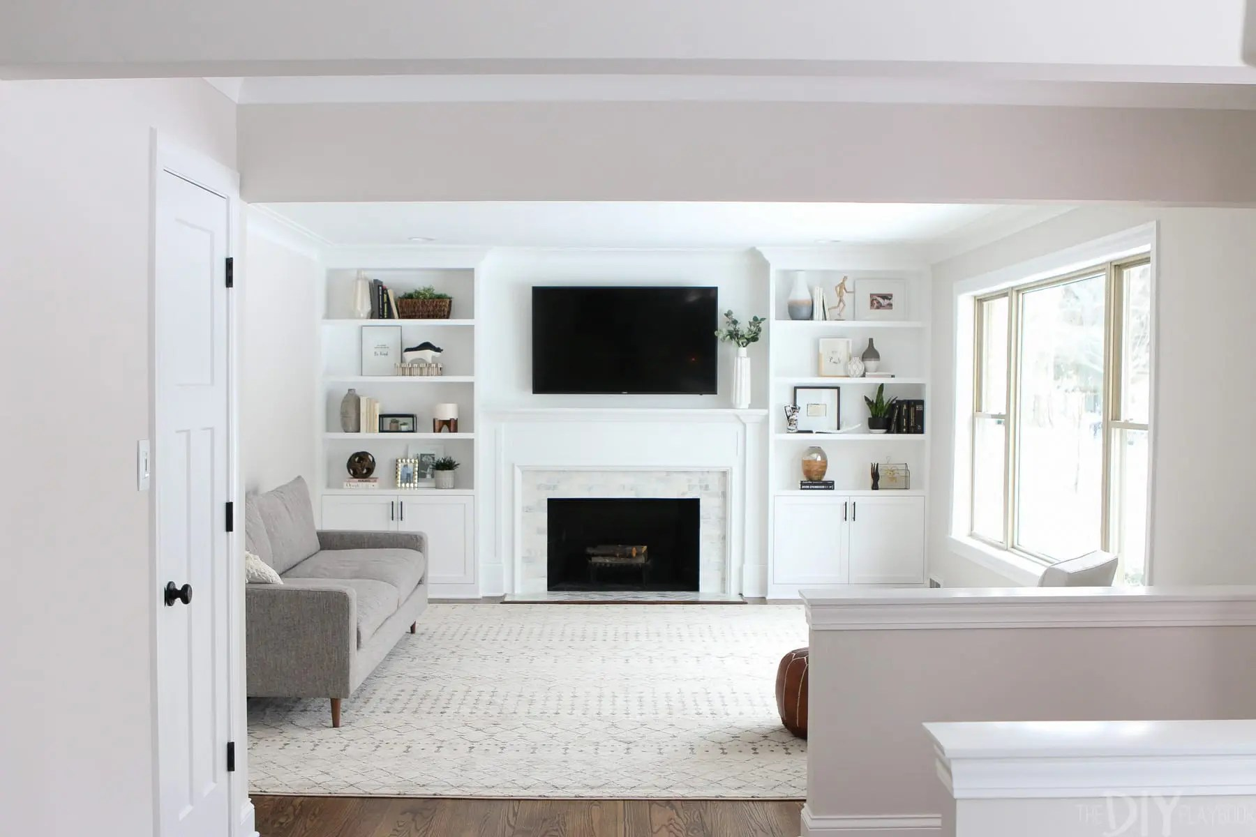 Fireplaces With Stone Surrounding White Built Ins Around The Fireplace Before And After The Diy