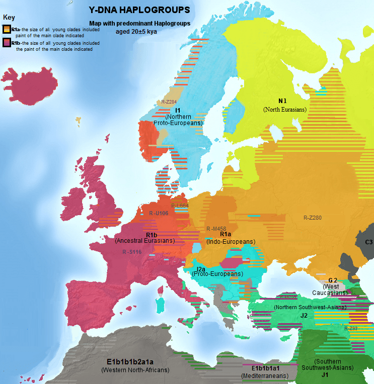 detailed map of europe depicting dominant y dna haplogroups image source www