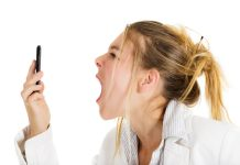 Angry woman yelling at cell phone 3000x2000 px