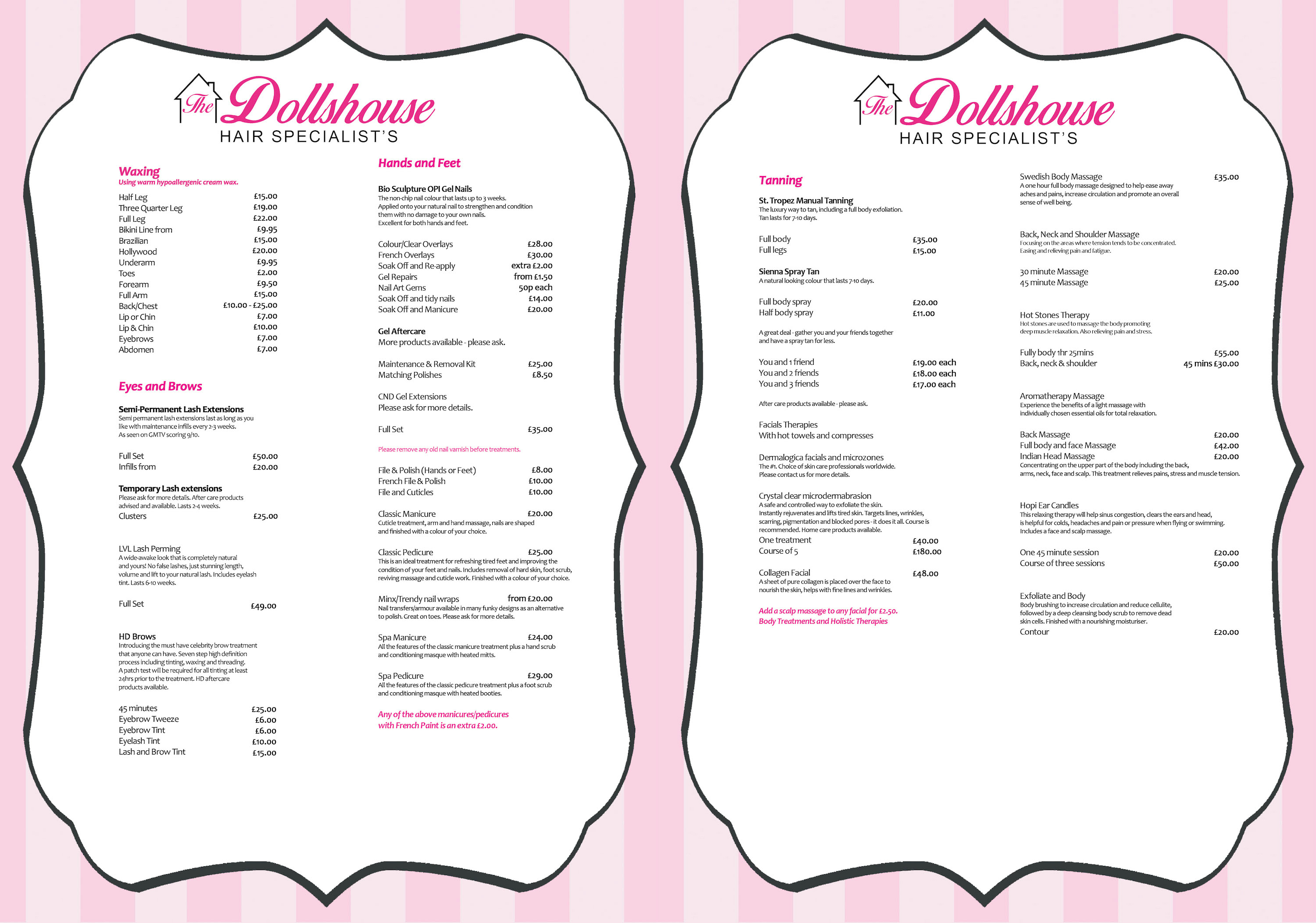 Beauty Salon Prices Price List The Dollshouse