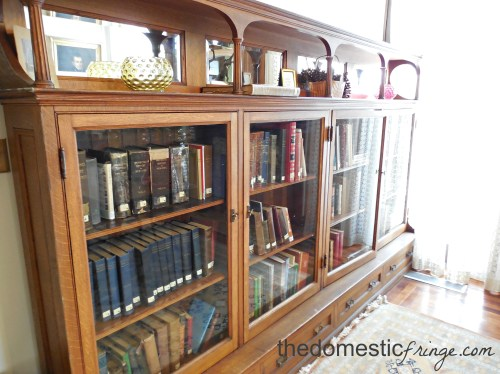 Antique bookcases in the public library
