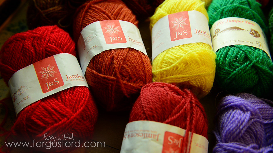 The delicious Jamieson & Smith 100% WOOL yarn that will be the basis for The KNITSONIK Stranded Colourwork Sourcebook, photo © Fergus Ford