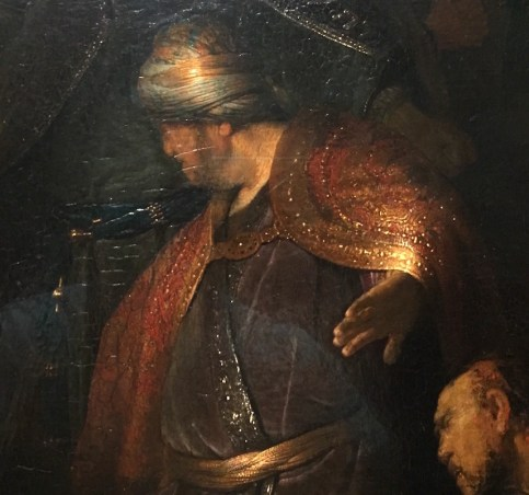 Judas Returning the Thirty Pieces of Silver, Rembrandt, oil on panel, detail