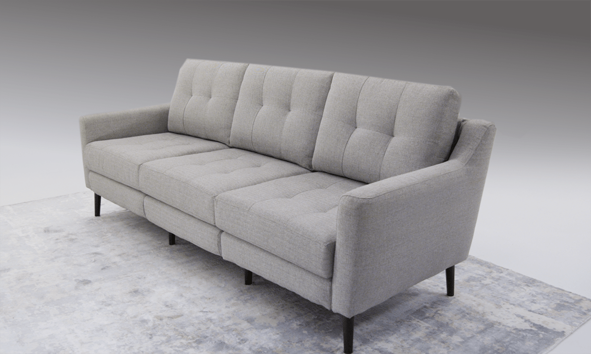 Modern Quilted Sofa Rio Gray Modular Mid Century Modern Sofa With Usb