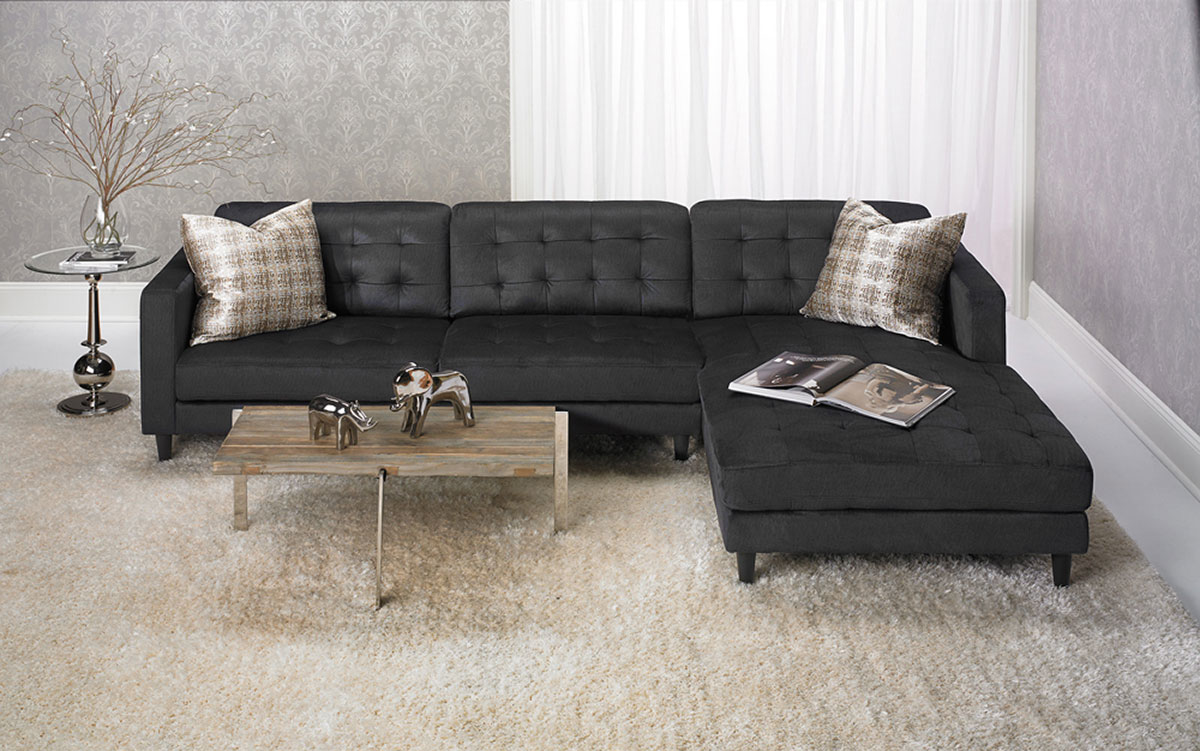 Contemporary Tufted Sofa With Oversized Chaise In Dark Grey The Dump Luxe Furniture Outlet