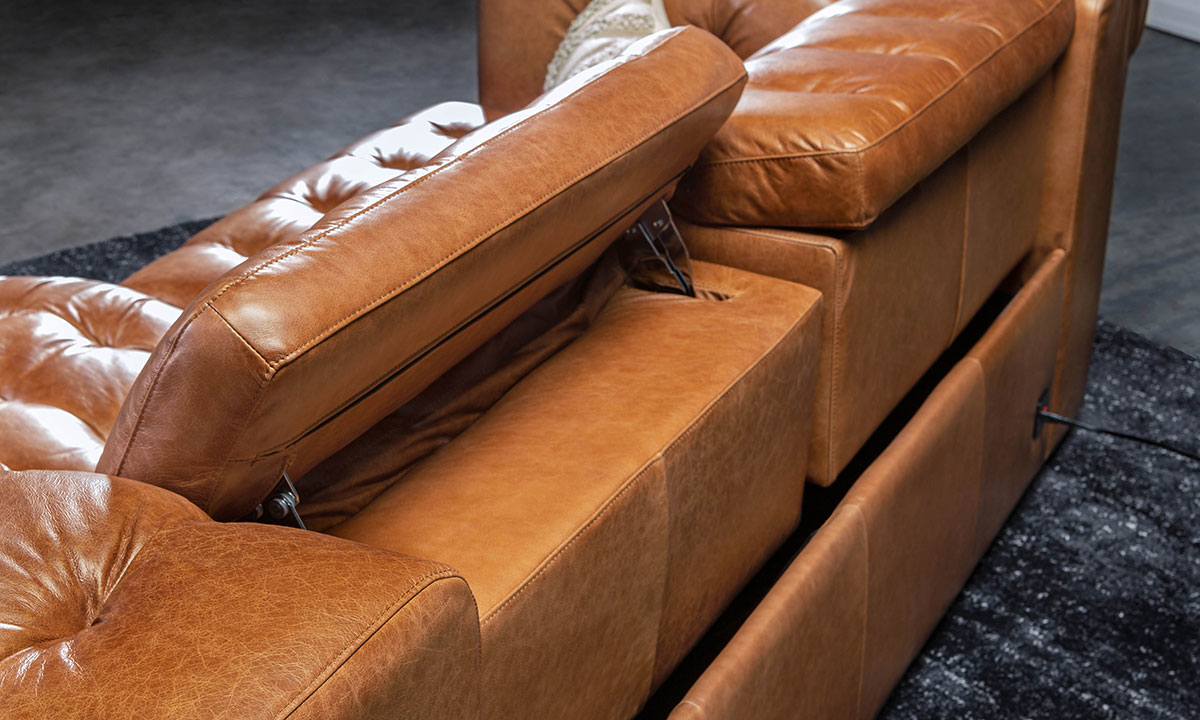 Churchill Chestnut Power Reclining Leather Chesterfield
