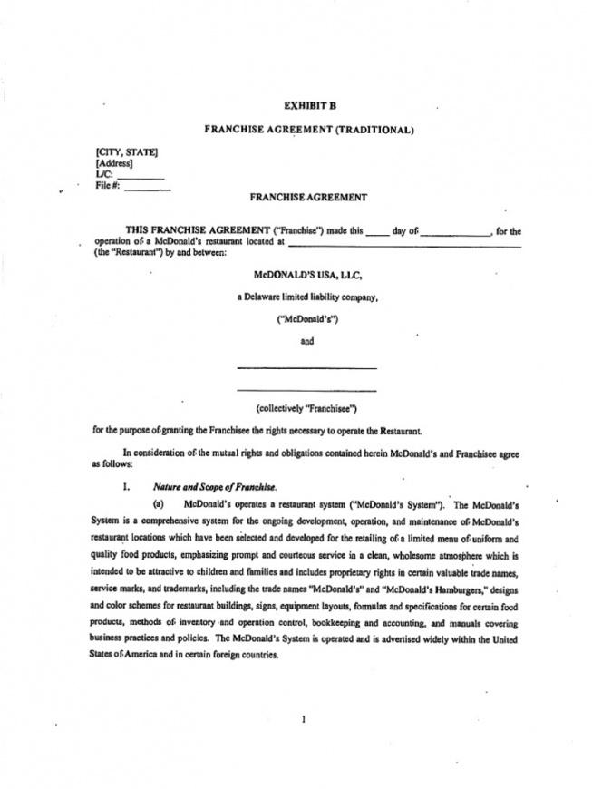 Here The Sample Franchise Agreement Form Hotel Franchise Agreement