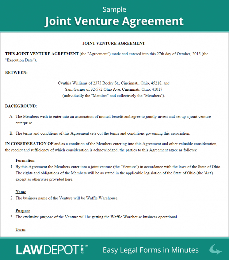 Joint Venture Agreement Free Joint Venture Forms (Us) Lawdepot