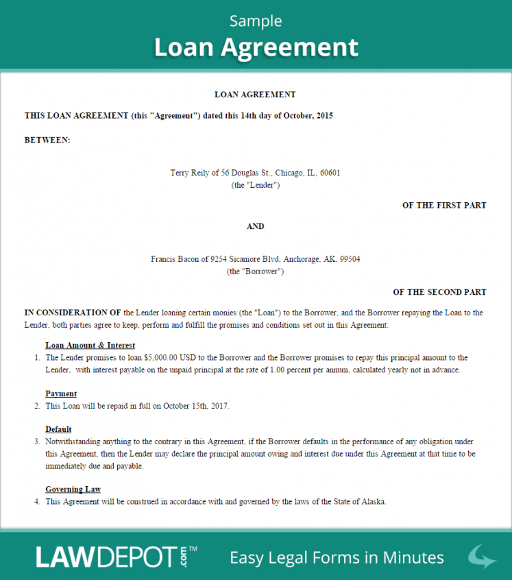 Loan Agreement Template (Us) Free Loan Contract Lawdepot Student