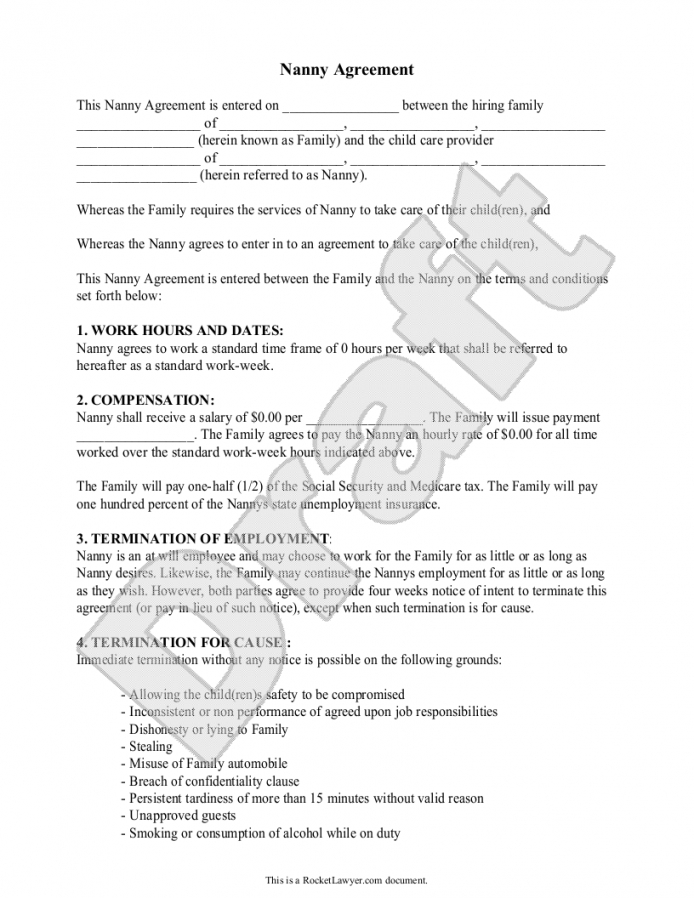 Sample Nanny Agreement Form Template Etcetera Nanny Contract Part