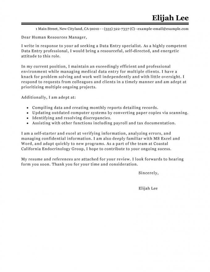 Editable Leading Professional Data Entry Cover Letter Examples