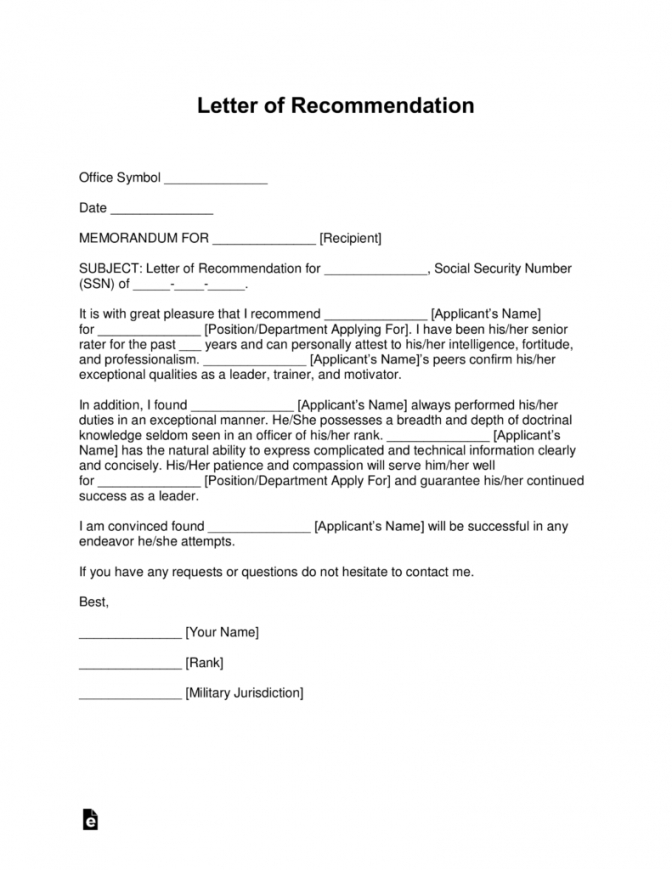 Free Free Military Letter Of Recommendation Templates Samples And