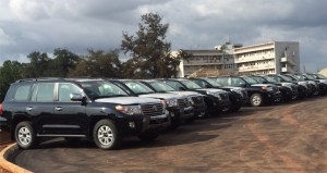 The Prado jeeps at the Government House before distribution