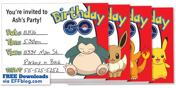 Pokémon GO Birthday GO Free Printable Invitations - free birthday invitations to print