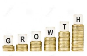 word-growth-row-gold-coin-stacks-isolated-white-financial-concept-lettered-dice-top-coins-indicating-stock-market-33872395
