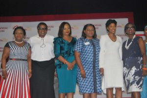 L-R Adeola Azeez, Director/Deputy Country Representative, Global Transaction Banking, Deutsche Bank; Mrs. Morin Desalu, CEO, Risk Watch Insurance Brokers Ltd; Aisha Ahmad, Chairperson WimBiz; Mrs. Bola Adesola, MD, Standard Chartered Bank; Mo Abudu, Chairman/CEO Ebony Life TV and Guest Speaker at the event; and Funmi Robert, Member, WimBiz at WimBiz 2017 12th Annual Lecture held in Lagos.
