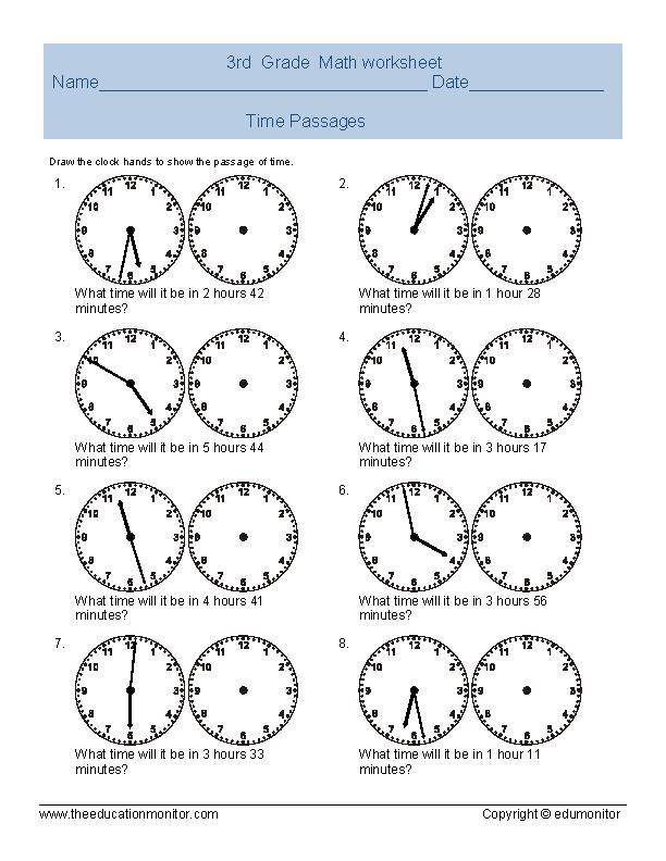 Free Telling Time Worksheets \u2013 EduMonitor