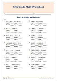 Mean Median Mode Math Worksheets  EduMonitor