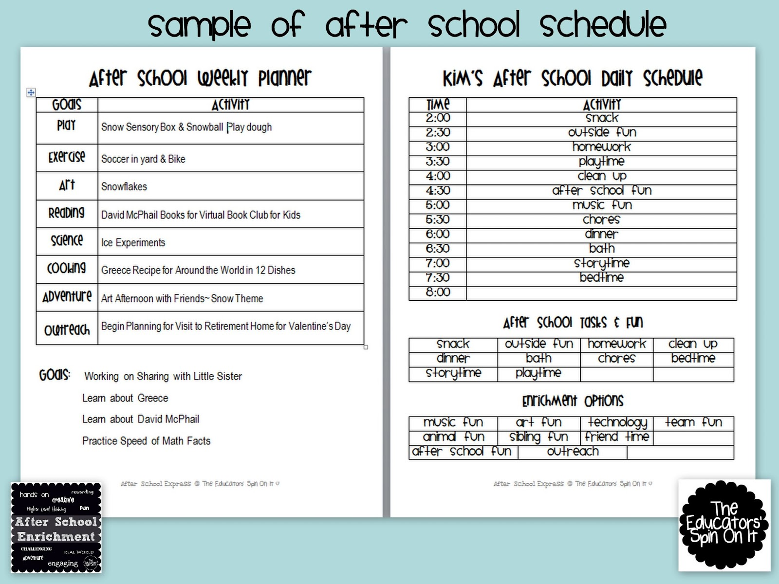Sarasota County Library System Schedule Of Events After School Weekly Planner The Educators Spin On It