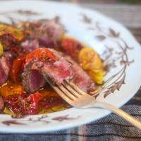 Sizzling Steak with Vinegar and Tomato Dressing