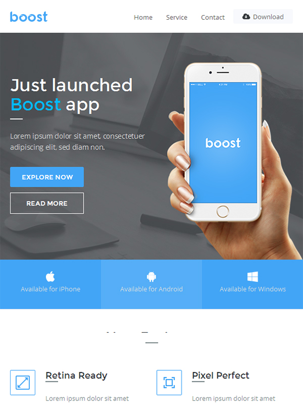 Boost - App Promotional Email Template Buy Premium Boost - App