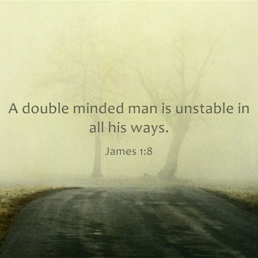 A double-minded man is unstable in all his ways. James 1:8