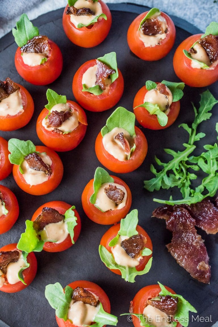 Kleine Party Snacks Mini Blt Tomato Cups The Endless Meal