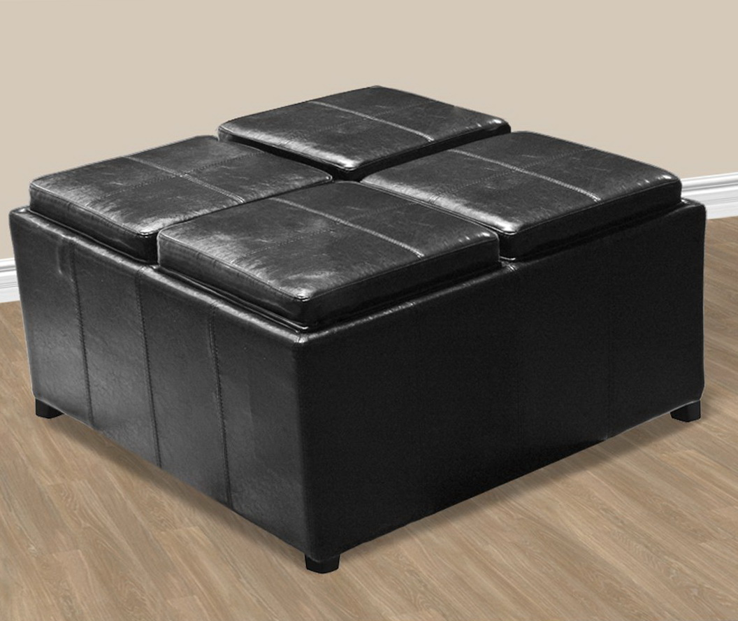 Ottoman Coffee Table Black Black Leather Ottoman Coffee Table Home Design Ideas