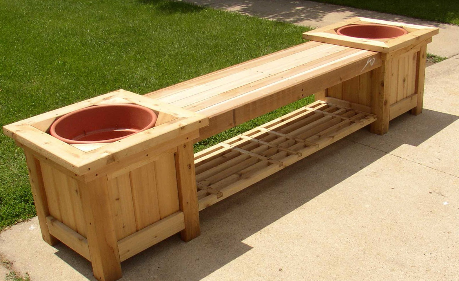 Storage Bench Ideas Outdoor Storage Bench With Planters Home Design Ideas