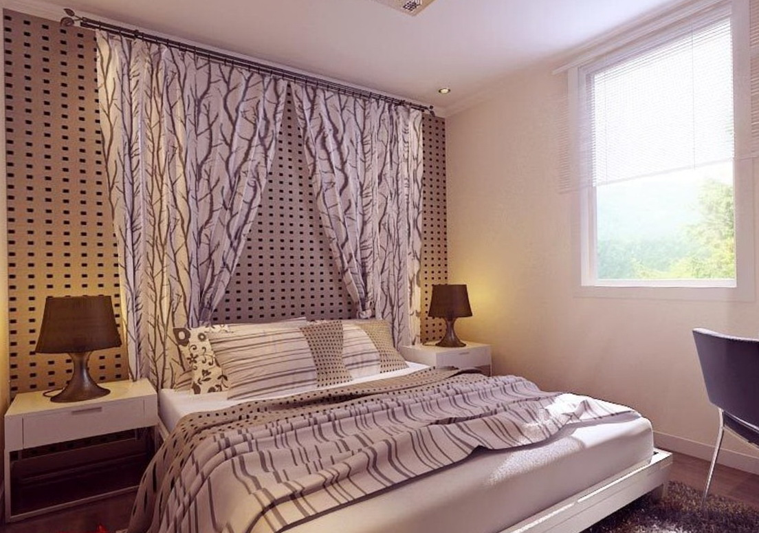 Curtains On Wall Behind Bed Wall To Wall Curtains In Bedroom Home Design Ideas