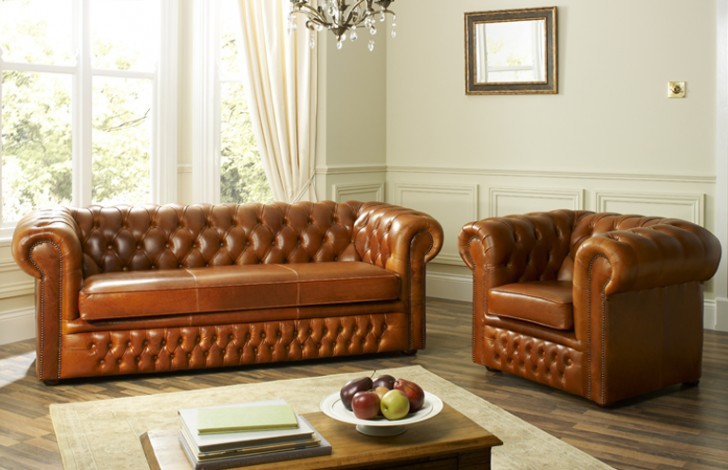 Sessel Braun Leder Cambridge Leather Chesterfield Sofa | Leather Chesterfield