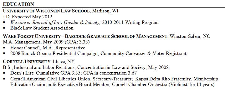 linkedin resume section