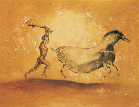 cave painting of prehistoric man chasing large animal with a club