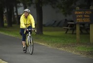 Julaine Heit rode the Brown's Creek State Trail into downtown Stillwater with a group of cycling women from Minneapolis who call themselves WOWW (Women On Wheels on Wednesday) on Wednesday, June 3, 2015. (Pioneer Press: Scott Takushi)